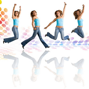 A young Hispanic woman in her early twenties jumping in the air in four different poses over an audio waveform backdrop with reflections.