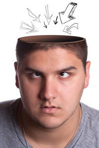 A young man looking up toward his opened head with arrows pointing in towards his brain.