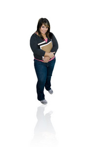 A young student with her books isolated over white - clipping path included.