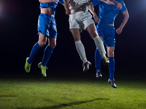 Soccer players duel