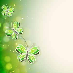 Abstact Nature Concept With Cute Illustation Of Butterflies On Shiny Background