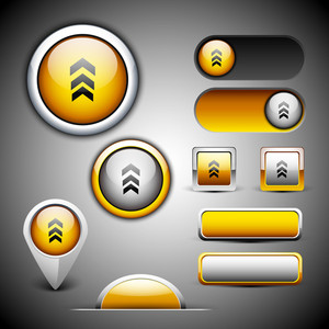Abstract 3d Glossy Icon Sets In Yellow Color With Grey Color Combination