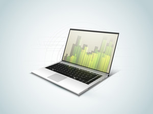 Abstract 3d Statistics Background Business Concept On A Laptop Screen