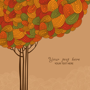 Abstract Autumn Tree Illustration Made Of Waves For Your Design