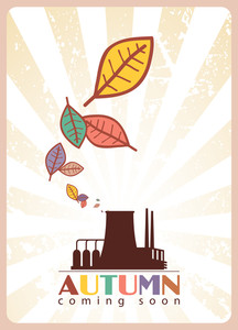 Abstract Autumnal Vector Illustration Factory And Leafs.