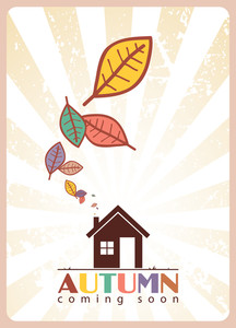 Abstract Autumnal Vector Illustration House And Leafs.