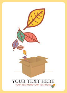 Abstract Autumnal Vector Illustration With Box And Leafs.