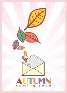 Abstract Autumnal Vector Illustration With Envelope And Leafs.