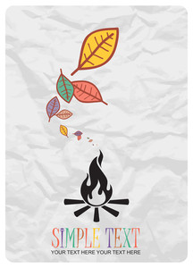 Abstract Autumnal Vector Illustration With Fire And Leafs.
