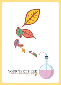 Abstract Autumnal Vector Illustration With Flask And Leafs.