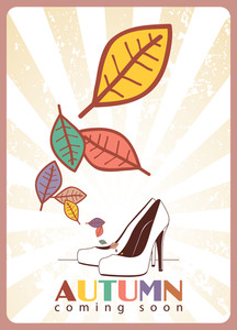 Abstract Autumnal Vector Illustration With High-heeled Shoes And Leafs.