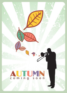 Abstract Autumnal Vector Illustration With Jazz Maker And Leafs.