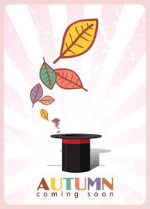 Abstract Autumnal Vector Illustration With Magic Hat And Leafs.