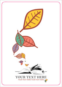 Abstract Autumnal Vector Illustration With Opened Book And Leafs.