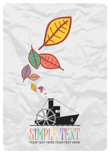 Abstract Autumnal Vector Illustration With Steamship And Leafs.