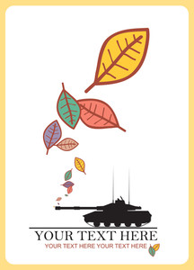Abstract Autumnal Vector Illustration With Tank And Leafs.