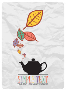 Abstract Autumnal Vector Illustration With Tea Pot And Leafs.