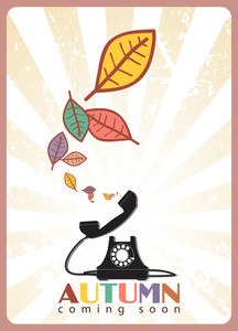 Abstract Autumnal Vector Illustration With Telephone And Leafs.