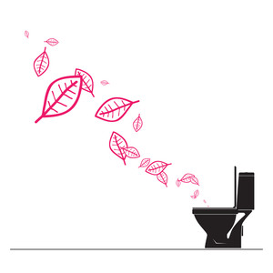 Abstract Autumnal Vector Illustration With Toilet Bowl  And Leafs.