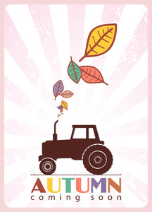 Abstract Autumnal Vector Illustration With Tractor And Leafs.