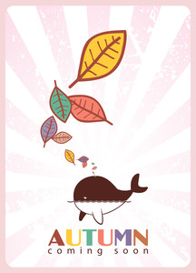Abstract Autumnal Vector Illustration With Whale  And Leafs.
