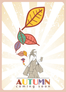Abstract Autumnal Vector Illustration With Women And Leafs.