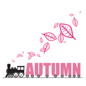 Abstract Autumnal Vector Illustration Withlocomotive And Leafs And Letters