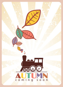 Abstract Autumnal Vector Illustration Withlocomotive And Leafs.