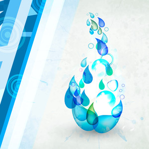 Abstract Background For Save Water Concept With Beautiful Blue Floral Design