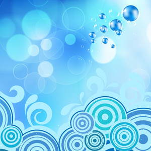 Abstract Background Water Splash With Floral Design. Can Be Use As Flyer