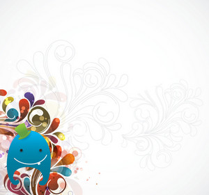 Abstract Background With Cute Monster Vector Illustration
