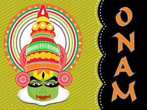 Abstract Background With Kathakali Actor Face