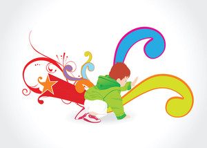 Abstract Background With Playing Kid