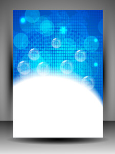 Abstract Background With Shiny Blue Bubbles And  Space For Your Text.