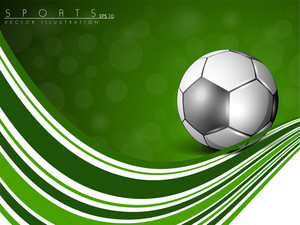 Abstract Background With Soccer Ball And Waves.