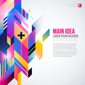 Text Background With Abstract Geometric Element And Glowing Lights. Corporate Futuristic Design