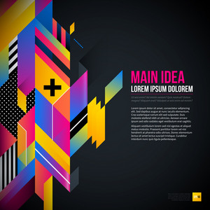 Dark Text Background With Abstract Geometric Element And Glowing Lights. Corporate Futuristic Design
