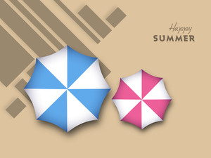 Abstract Backround With Colorful Umbrellas And Happy Summer Text