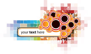 Abstract Banner With Circle And Colorful Pixels Background
