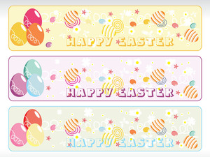 Abstract Banner With Eggs