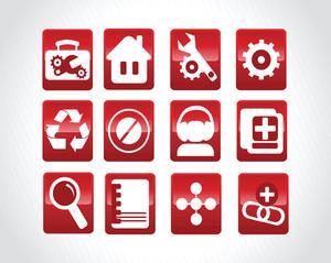 Abstract Beautiful Red Web Glassy Logo Set