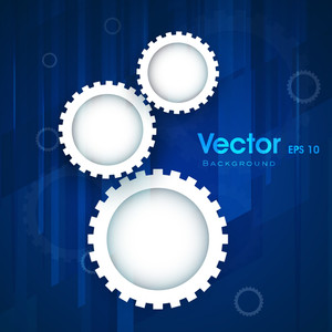 Abstract Business Blue Background With Cog Wheel