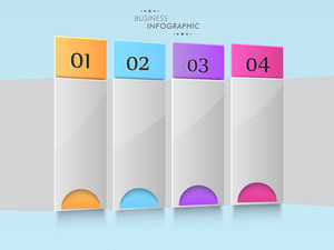 Abstract business infographic layout with colorful papers and numeric on grey background.