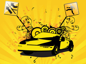 Abstract Car With Grunge And Circle