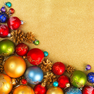 Abstract Christmas gold background with decorations
