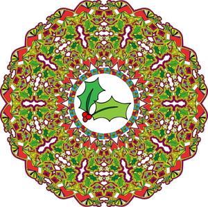 Abstract Christmas Wreath. Vector Illustration.