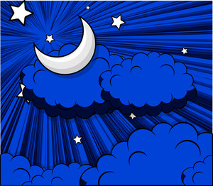 Abstract Clouds Moon Stars Background