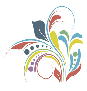 Abstract Colored Flourish Elements Design