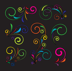 Abstract Colored Flourish Swirls Set