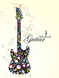 Abstract Colorful Guitar With Florels And Notes. Vector